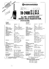 Service Manual Kenwood TR-2400 ST-1