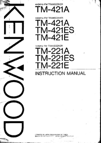 User Manual Kenwood TM-221E