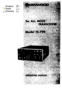 User Manual with schematics Kenwood TS-700