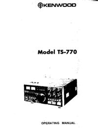 User Manual Kenwood TS-770
