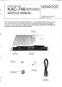 Service Manual Supplement Kenwood KAC-746