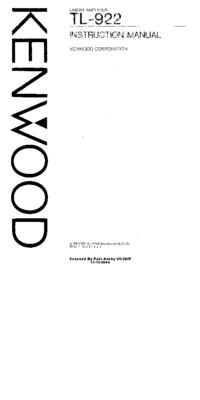 Serwis i User Manual Kenwood TL-922