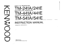 User Manual Kenwood TM-441E