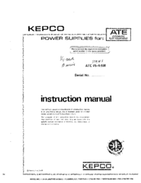 Service Manual Kepco ATE 75-1.5M