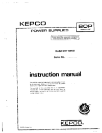 Manual del usuario Kepco BOP 1000M