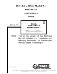 User Manual Kepco BOP 3/4 RACK