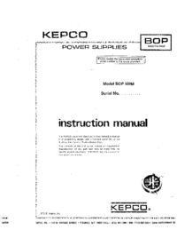 Service and User Manual Kepco BOP 500M