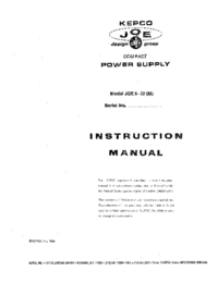 Service and User Manual Kepco JQE 6-22 (M)