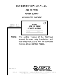 User Manual Kepco JQE 1/2 RACK