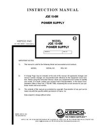 Servizio e manuale utente Kepco JQE15-6M