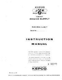 Servicio y Manual del usuario Kepco JQE 36-15 (M)VP