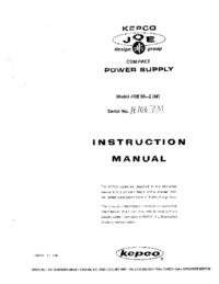 Service and User Manual Kepco JQE 55-2 (M)