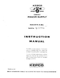 Service et Manuel de l'utilisateur Kepco JQE 55-20