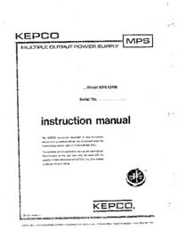 Servizio e manuale utente Kepco MPS620M