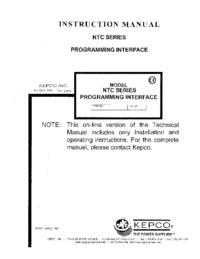 Gebruikershandleiding Kepco NTC SERIES