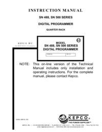 Manual del usuario Kepco SN 500 SERIES