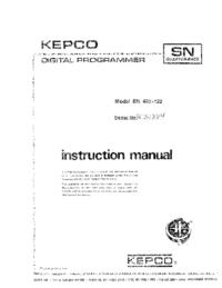 Руководство пользователя Kepco SN 488-122