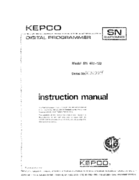 Bedienungsanleitung Kepco SN 488-122