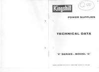 Обслуживание и Руководство пользователя Kingshill V Series Model C