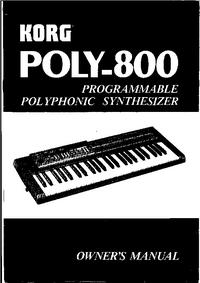 Instrukcja obsługi Korg Poly 800