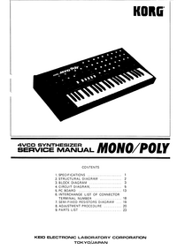 Manuale di servizio Korg Mono/Poly