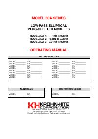 User Manual KrohnHite 30A-2
