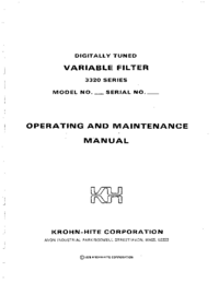 Service and User Manual KrohnHite 3322
