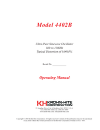 Manual del usuario KrohnHite 4402B