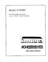 User Manual KrohnHite E1OORC