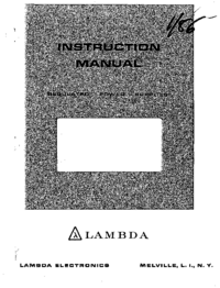 Servicio y Manual del usuario Lambda LDS-X-20