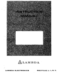 Service and User Manual Lambda LDS-Y-150
