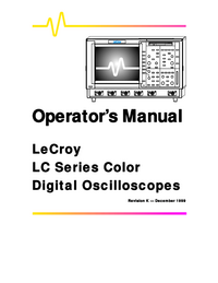 User Manual LeCroy LC574 Series