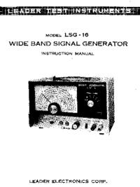 Servizio e manuale utente Leader LSG-16