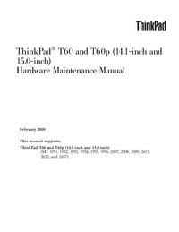 Manual de serviço Lenovo ThinkPad T60 (14.1-inch and 15.0-inch)