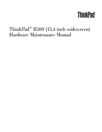 Service Manual Lenovo ThinkPad R500