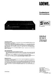 Instrukcja serwisowa Loewe VHS-Profi OC 650 H