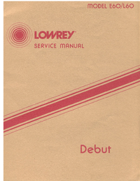 Service Manual Lowrey E60