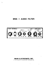 Service and User Manual MMElectronics MSB-1