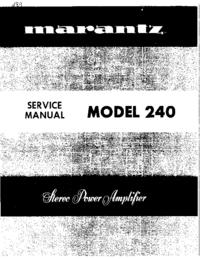Руководство по техническому обслуживанию Marantz 240