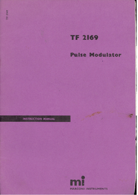 Service and User Manual Marconi TF 2169