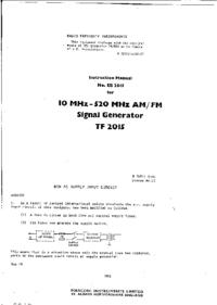 Руководство по техническому обслуживанию Marconi TF 2015