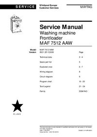 Service Manual Maytag MAF 7512 AAW