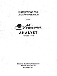 User Manual with schematics Meissner Analyst