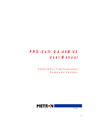User Manual Metron PRO-Soft QA-40M