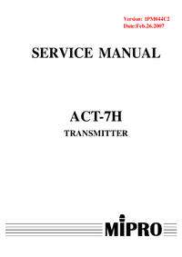 Manual de serviço MiPRo ACT-7H