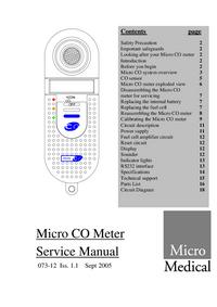 Руководство по техническому обслуживанию MicroMedical Micro CO Meter