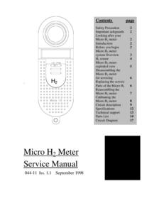 Service Manual MicroMedical Micro H2 Meter