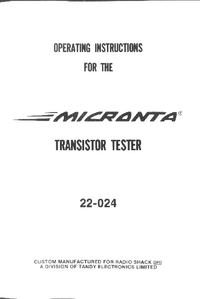 Manuel de l'utilisateur Micronta 22-024