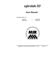 Manuale d'uso Mir spirolab III