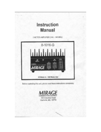 User Manual with schematics Mirage B1016-G